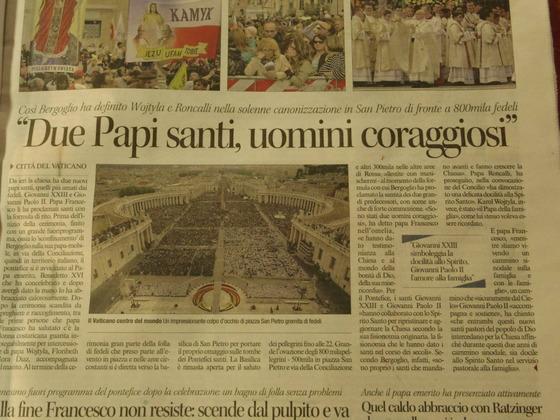 昨日の新聞から!Orvieto パパの聖人のセレモニー